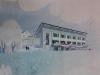 Dessin d\'architecte en vue de l\'agrandissement de l\'auberge, 1957