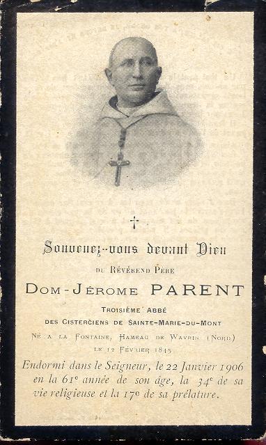 Dom Jérôme Parent, Image mortuaire
