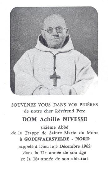 Image mortuaire de Dom Achille Nivesse 1962