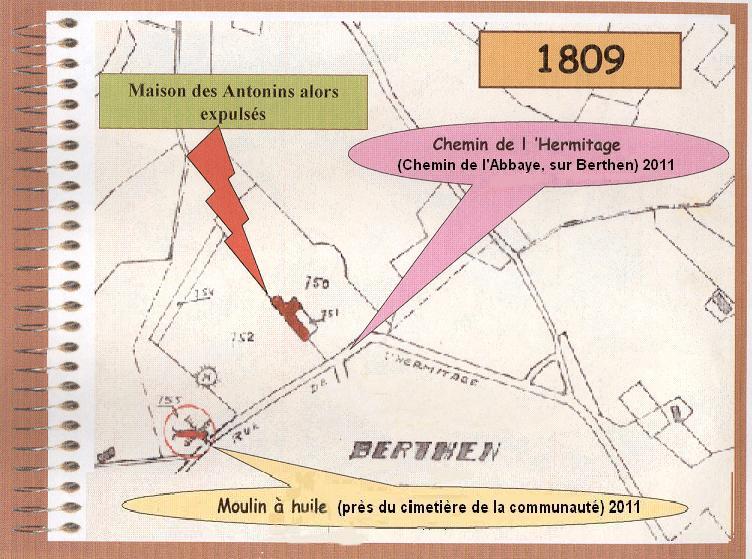 Plan cadastral de 1809, le couvent des Antonins
