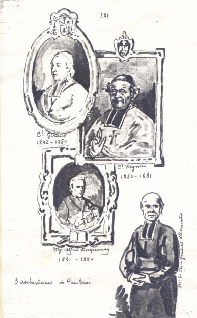 Les Archevêques de Cambrai, dessin de Père Eugène