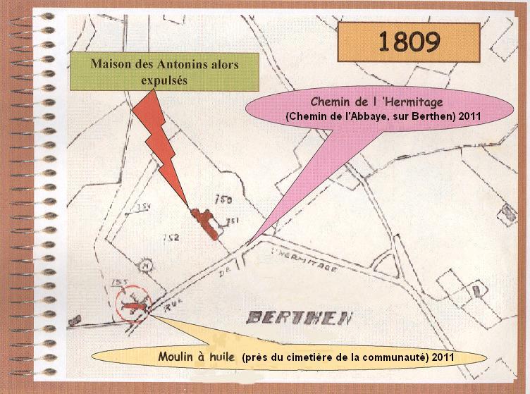 Plan cadastral de 1809 : ce qui reste des bâtiments des Antonins