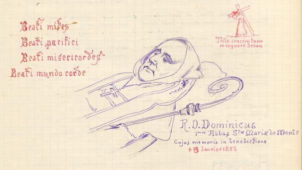 Dom Dominique Lacaes, dessin mortuaire par Père Eugène