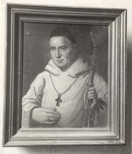 Dom Germain Gillon, photo N/B du tableau, pour mieux repérer la crosse