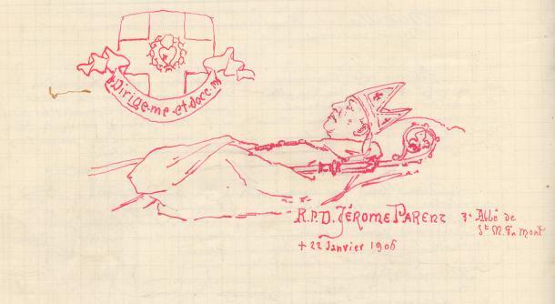Dom Jerome decede, dessin de Père Eugène