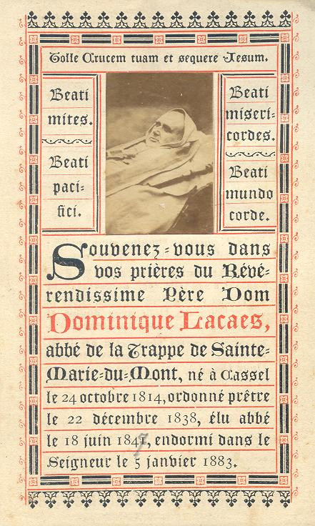 Dom Dominique Lacaes 1883 image mortuaire