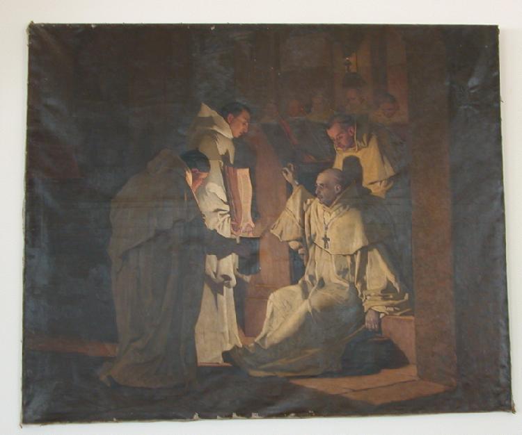 Dom Dominique Lacaes proclamant l'Evangile. Père Sébastien tient le Livre
