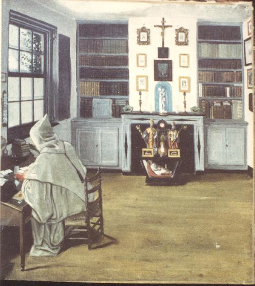 Le premier Père Abbé, Dom Dominique Lacaes dans son bureau