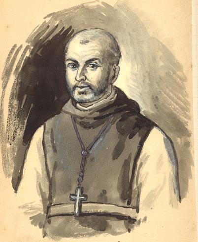 Dom Dominique Lacaes, premier abbé, dessin par Père Eugène
