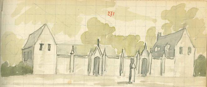 L'école du Mont des Cats en 1839, dessin de Père Eugène Arnould