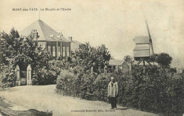 """Vers 1900, la """"nouvelle école"""" près de la villa, et le """"moulin des pauvres"""""""