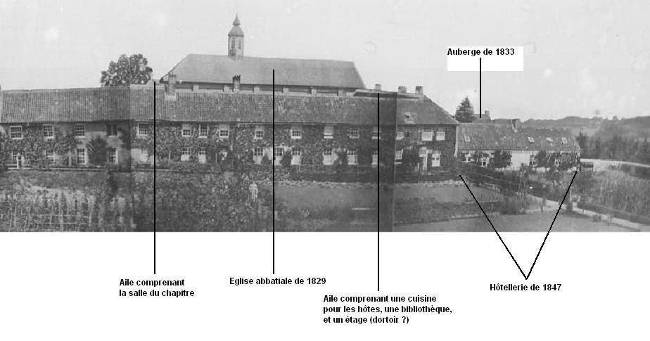 Façade Sud du monastère vers 1850, description des lieux