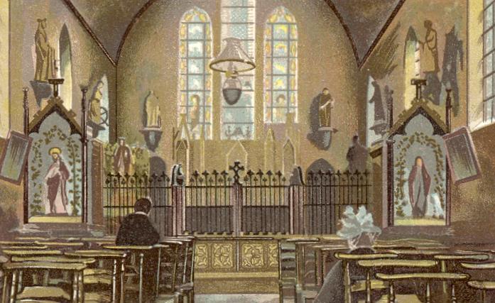 L'Eglise Saint Constance, interieur, dessin de 1898