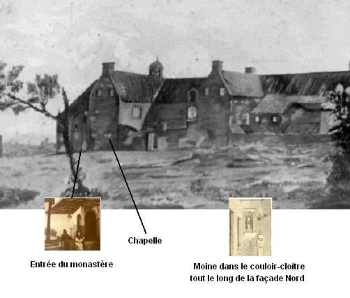 Le premier bâtiment de la fondation, face Nord, avec l'endroit supposé du premier oratoire, vers 1828.