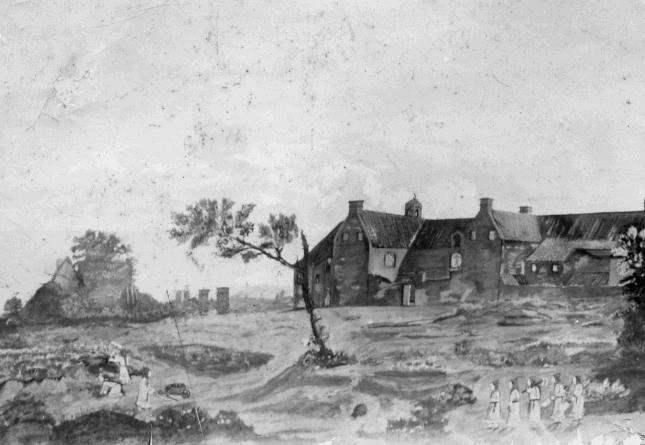 Le batiment face Nord vers 1828 avec les frères au travail