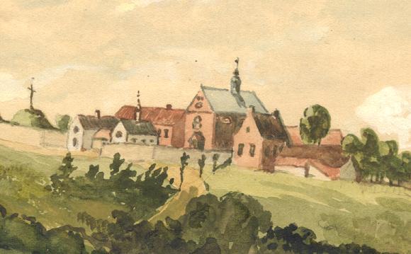 Le monastere en 1865 avec l'église St Constance, le petit bâtiment blanc de droite.