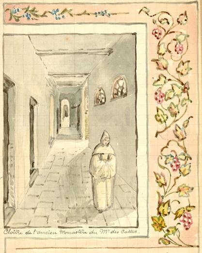 Derrière le moine, le cloître vers la salle du chapitre et l'église.