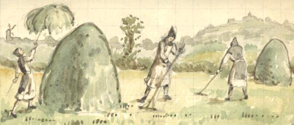 Les frères aux moissons, dessin Père Eugène