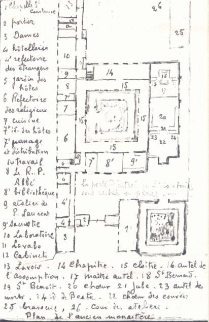 Plan au sol du monastère de 1875, croquis de Père Eugène