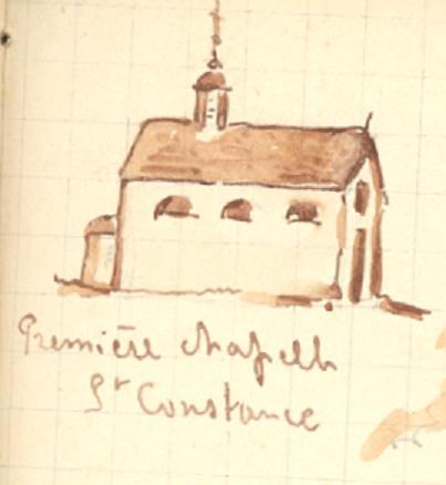 Premiere chapelle St Constance, 1848, dessin Eugène Arnould