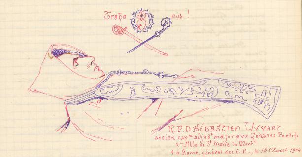 Dom Sebastien Wyart, dessin mortuaire par Père Eugène