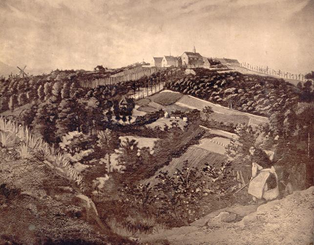 1847 vue generale depuis Mont de Boeschepe, dessin à l'encre, auteur inconnu