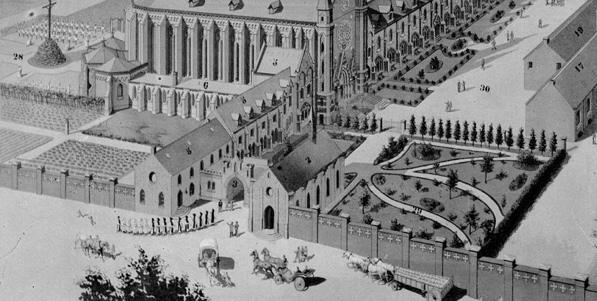 1890 Destombes, mur de clôture de part et d'autre de l'entrée du monastère