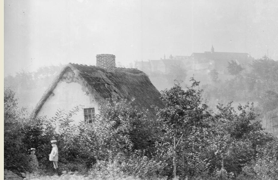 1892 maison au toit de chaume, vue sur le Mont des Cats depuis Boeschepe