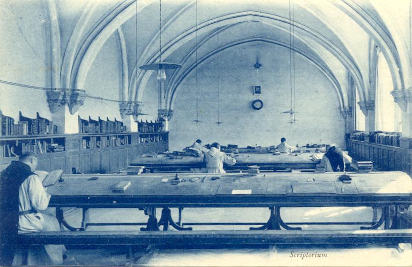 """le scriptorium, seconde partie de la """"salle du chapitre"""", vers 1897"""