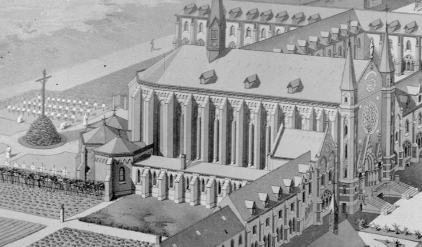 1890 projet de l'architecte Destombes : vue sur le cimetière