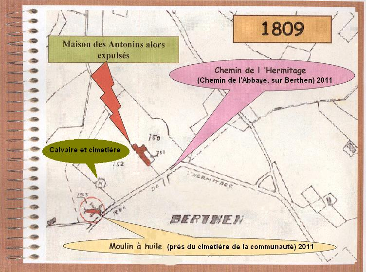 Plan cadastral de 1809, le couvent des Antonins, le moulin et le Calvaire