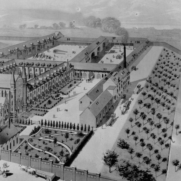 Vue sur les ateliers dans le projet Destombes de 1891