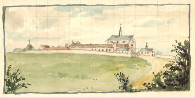 """Premier monastere 1847, dessin de Père Eugène, le mur côté Sud englobe le """"Calvaire"""" des Antonins."""