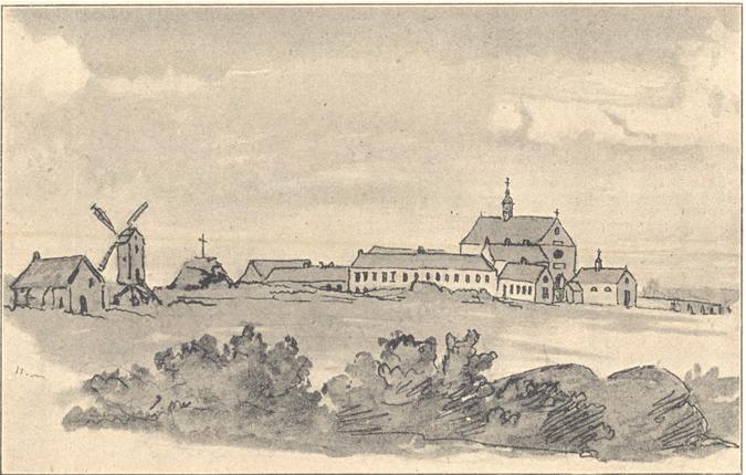 Le premier monastere vers 1850, eau-forte