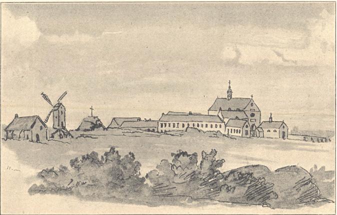 Premier monastère, dessin à la plume, avec le calvaire et le moulin