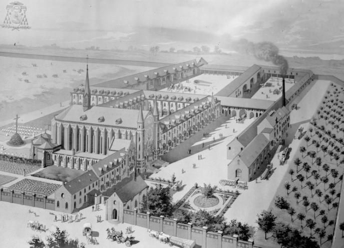 Vue cavaliere 1898, dessin de l'architecte avant le lancement des travaux
