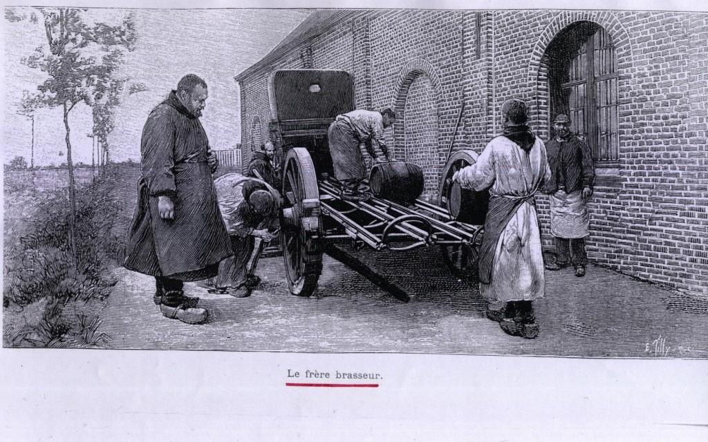 Les frères brasseurs chargeant des fûts devant la nouvelle brasserie