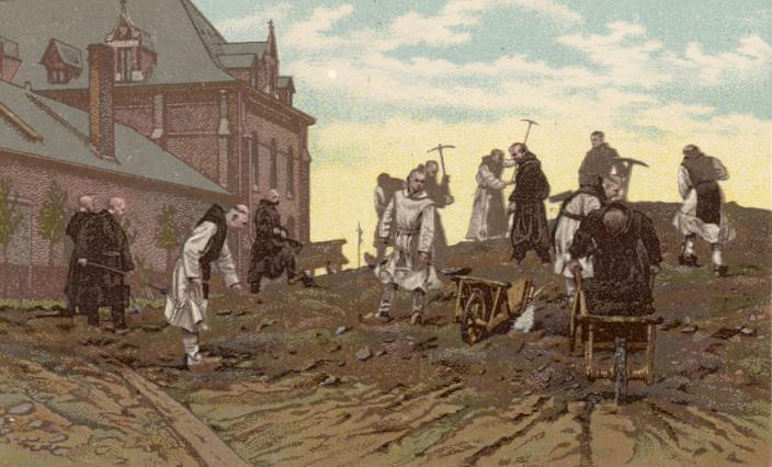 Travaux de terrassement le long de l'aile de la buanderie et boulangerie