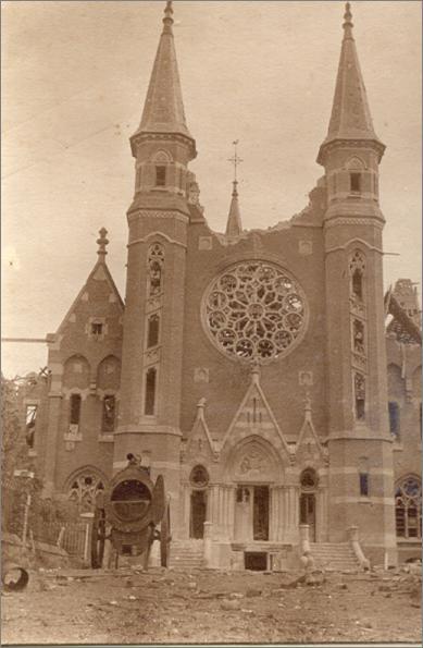 Ascension 1918 : Dégâts à l'église abbatiale