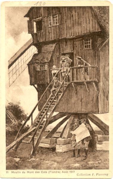 Un moulin du Mont des Cats comme poste observation en 1917